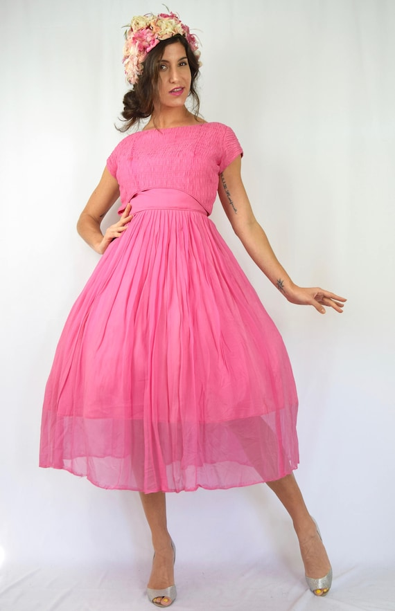 small Dress New size Chiffon 50s 60s Look Vintage Party Pink ZzU0Inf