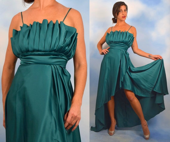 Vintage 70s Emerald Green Satin High Low Evening Gown (size xs, small)