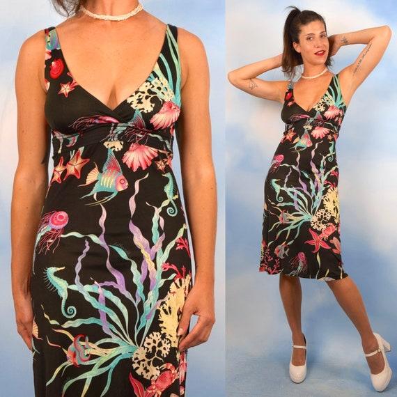 Vintage 90s Underwater Print Stretch Rayon Jersey Wiggle Dress (size xs, small)