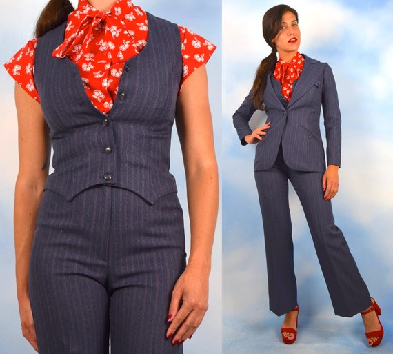 Vintage 70s Slate Grey Pin Striped 3 Piece Suit (size xs, small)
