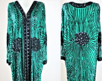 Sz XL// Amazing Gatsby style Green Sequin coat// Beads sequins Duster