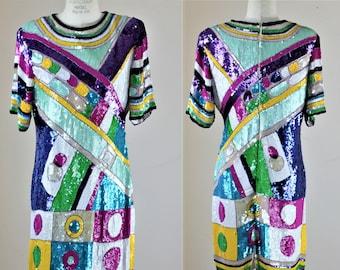 Sz M// Colorful Vintage Sequin Dress// Funky retro Beads