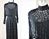 Sz 6 Edwardian Style Silk Beaded Gown Bridal style Sequins Glass beads WOW