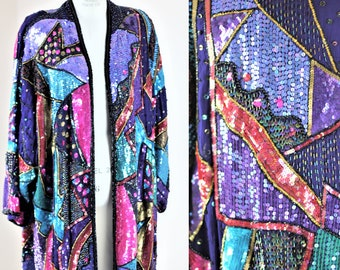 Oversized OS// Vintage Crazy Quilt Long Sequined Beaded Coat//Judith Ann Creations// Duster// Kimono