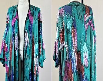 Sz L// Amazing Long Turquoise Duster// Beaded Sequined Judith Ann