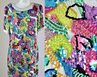 Sz 14// Colorful beaded Sequined Dress//short sleeve silk