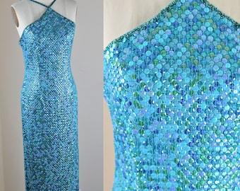 Sz 6// Lillie Rubin Mermaid Dress// Vtg Deadstock Sequins Blues greens