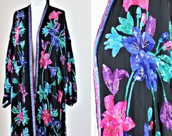Sz 2x//Long Sequin Duster// Beaded silk kimono // Judith Ann Creations flowers