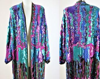 Sz 1x// Fabulous Sequin Coat Kimono// Beads silk sequin Duster//Gatsby
