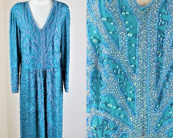 Sz XL// Heavily beaded Turquoise Dress// Pearl beads sequins