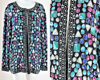 Sz L// Jeweled look Vintage sequin beaded jacket//Colorful sequins