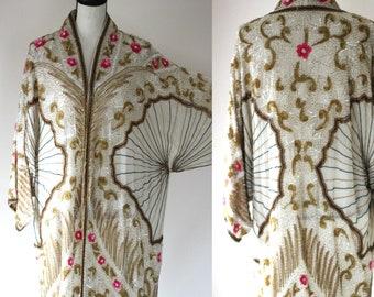 Sz 16// AMAZING Flapper Gatsby  Art Deco Style  Vintage Beaded Sequined Coat WOW
