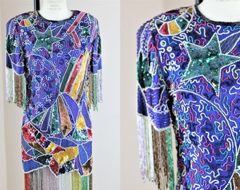 Sz M//Short Colorful dress with loads of style// Sequin Beaded Stars and plenty of fringe!!//Mini
