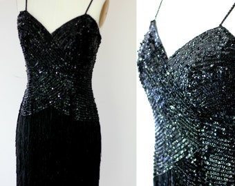fb2899207eb2 Heavily Beaded Black Fringe Gatsby party Dress// Formal sequined