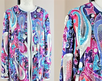 Sz L//Long Beautiful Judith Ann Creations Jacket// Sequin beaded Stars Silk