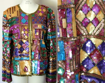 07c1479f Nordstrom Fully Beaded sequin jacket size Large