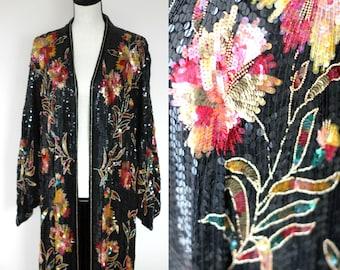 Sz 1X//FABULOUS Art Deco Flapper Style Saks Fifth avenue 80s Sequined beaded Coat Duster Robe//Plus size