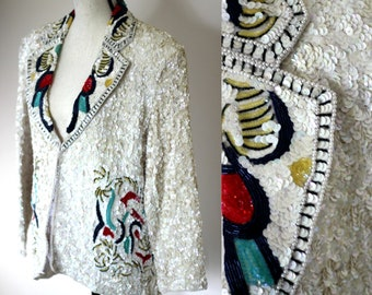 f147dc76d73 Vintage Heavily Beaded White Blazer with folk pattern sequined jacket XL
