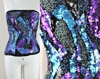 Sz M//Fabulous Sequin Beaded Bustier// Beaded corset