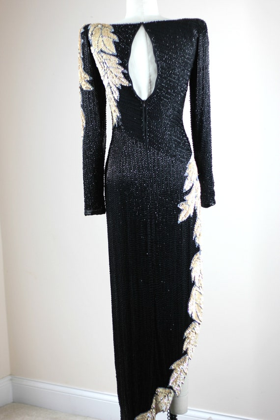 Sz XS// Stunning Formal Black Beaded sequined Gow… - image 7