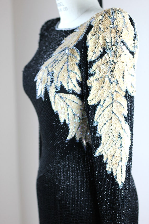 Sz XS// Stunning Formal Black Beaded sequined Gow… - image 4