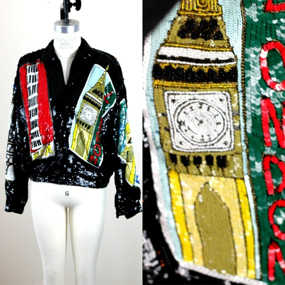 Sz L//Travel Poster Sequin Jacket Modi//Beaded