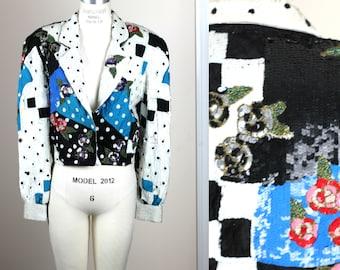Sz L//STUNNING heavily embellished sequin jacket// Beaded sequins silk