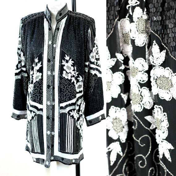 Sz L//STUNNING Black White Duster Kimono// Sequin