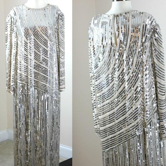 Plus Sz 2X// Long Champagne Flapper Style Dress//