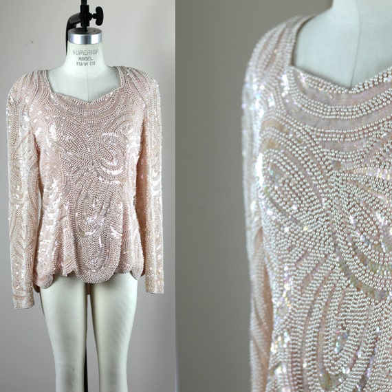 Sz 10// Vintage Pearl Beaded Sequin Top// Formal E