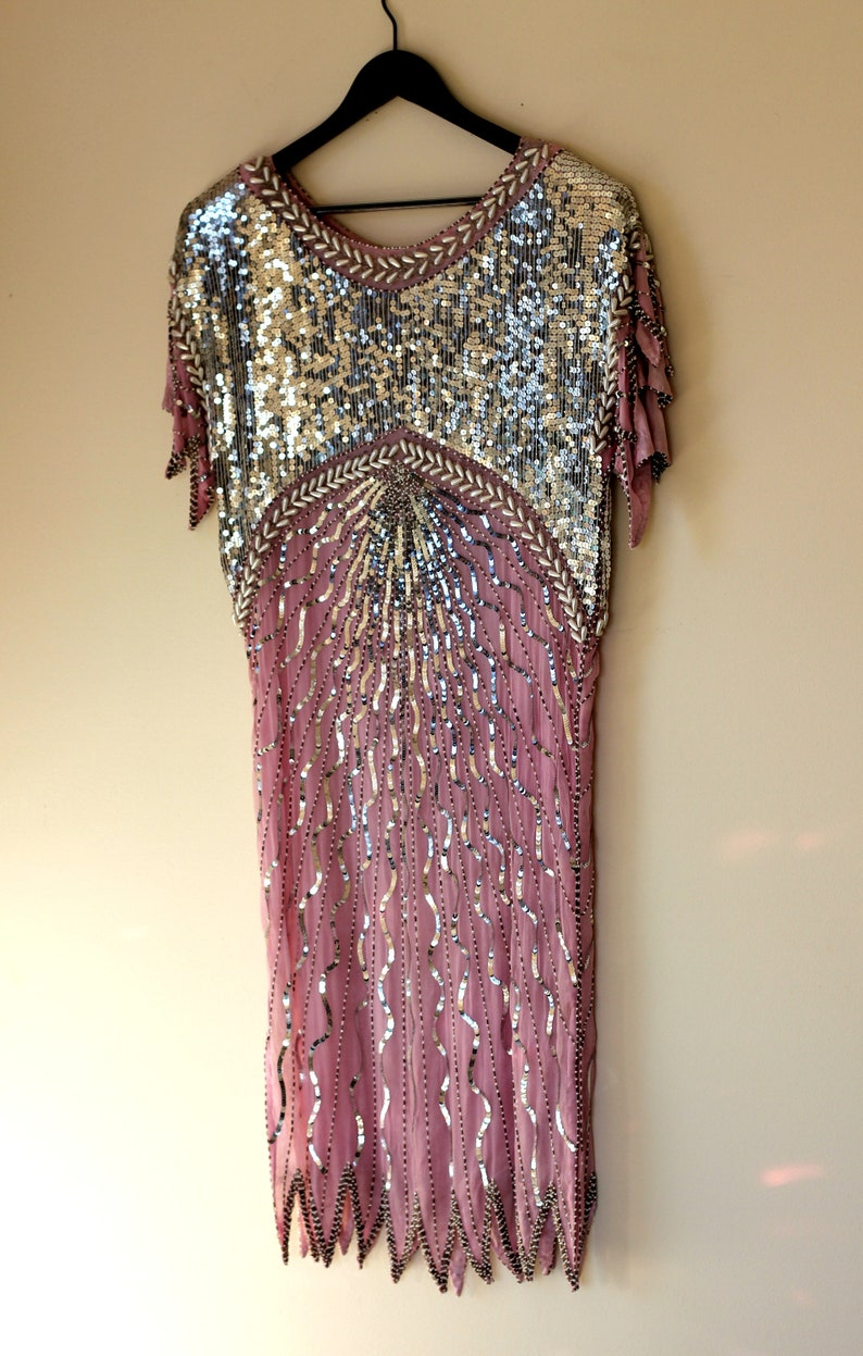 Mauve Pink Silver Flapper Style Vintage Sequin Beaded Dress