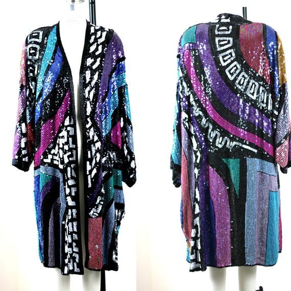Sz M //Avant Garde Deco Sequin Beaded Coat// Kimon