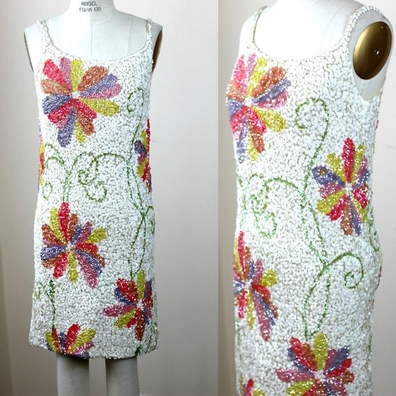 Sz L//Mod 60s// Vintage Gene Shelly Sequin dress//