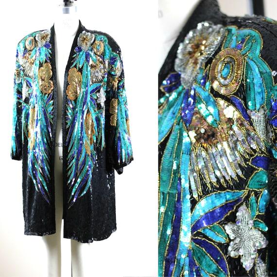 Plus Sz 1X// Amazing Beaded sequin coat// Long Jac