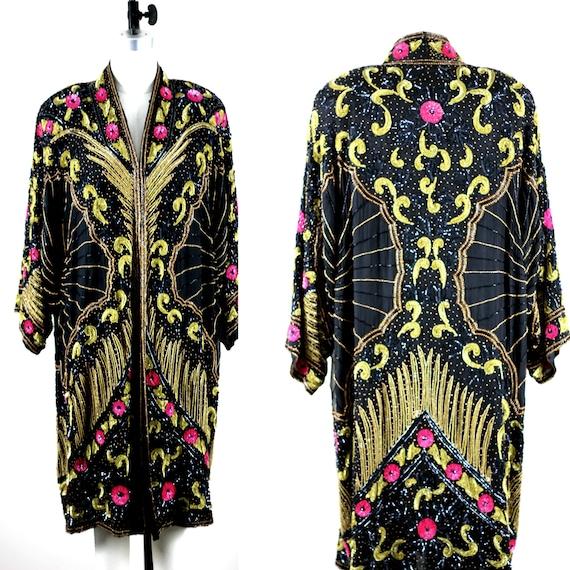 Sz XL// The ultimate Gatsby coat// Beaded sequin s