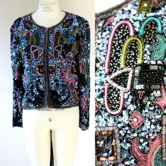 Sz M//Embellished Jacket Beads Sequins// Blues Pur