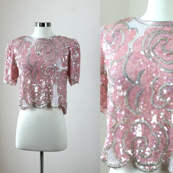 Sz 8// Glamorous Sequin Beaded top// Vtg Crop top/