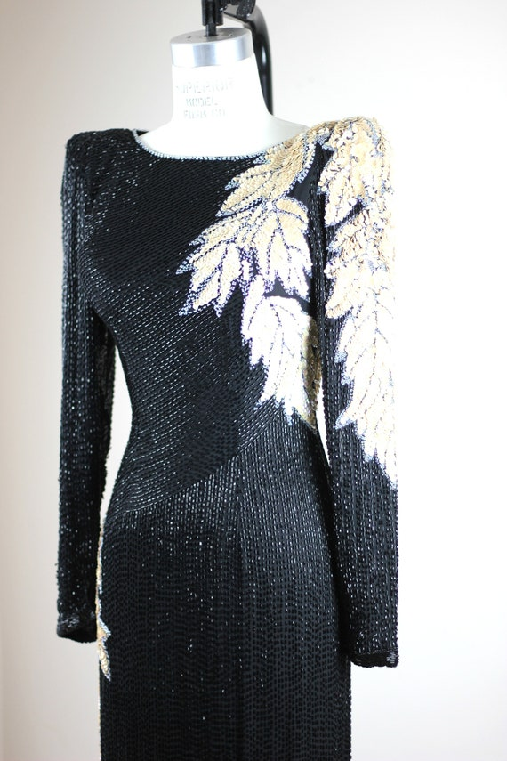 Sz XS// Stunning Formal Black Beaded sequined Gow… - image 6