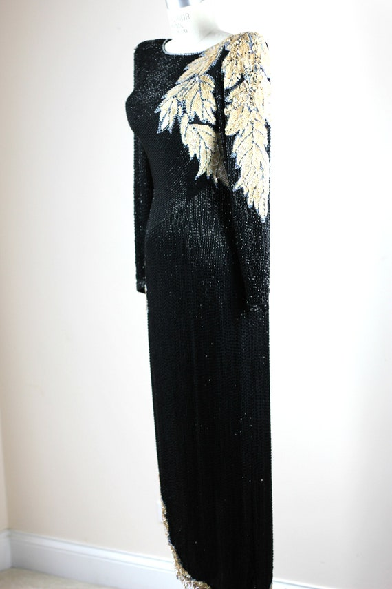 Sz XS// Stunning Formal Black Beaded sequined Gow… - image 5