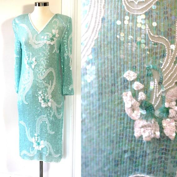 Sz S//Gatsby Party Sequin Dress// Beaded light Aqu