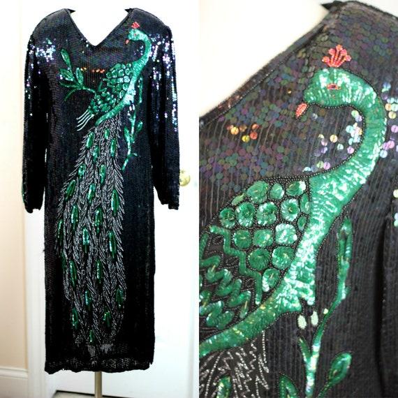 Sz XL Gatsby Style pearl beads Sequin Dolman Sleeved Dress Silk sequin beads