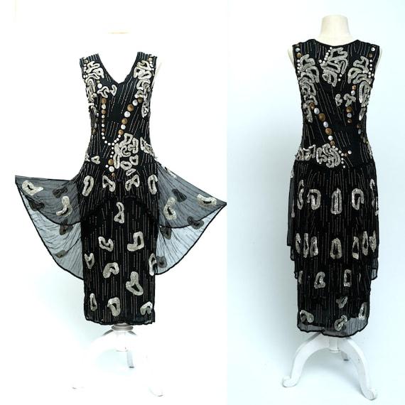 Sz M(VTG) // Authentic Beaded 1930s Vintage Dress/