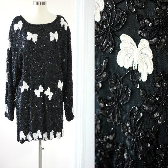 Plus size2X// Beaded Tunic Mini dress// Sequin bea