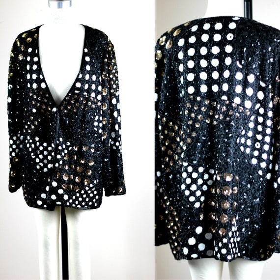 Sz L// Vintage Sequin swing jacket// Beaded polka