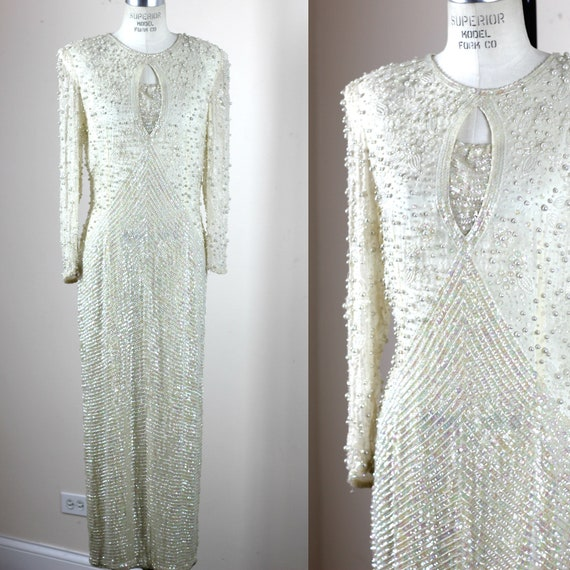 Sz M// All Sequin Beaded gown// Ivory Silk Cassini