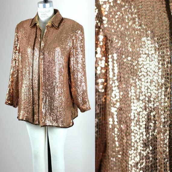 Sz XL// Copper Sequin Jacket// blouse // Beads sil