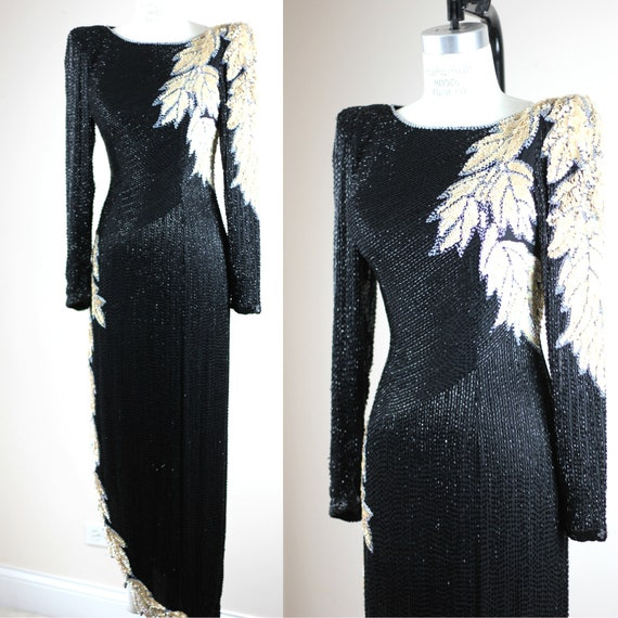 Sz XS// Stunning Formal Black Beaded sequined Gown