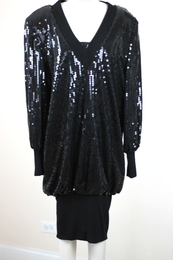 Size 14// 1980s Vintage Sequins Slouch style dres… - image 2