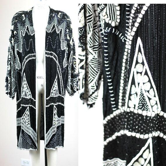 Plus Sz 1X// Beaded Sequin Duster Kimono// Vintage
