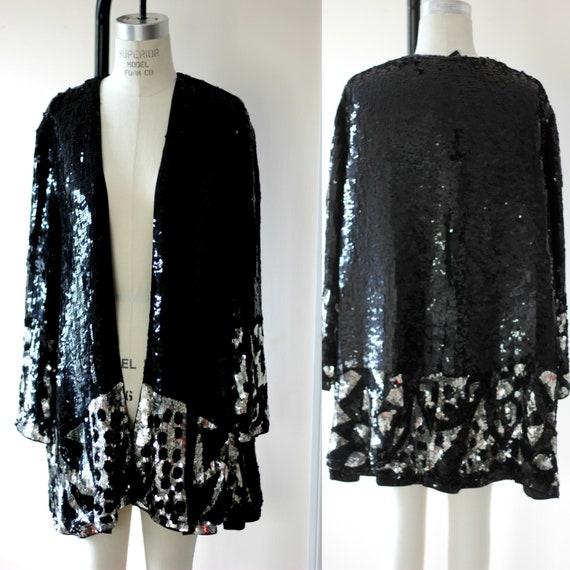 Size 6// Swing Black & Silver Sequin Duster//Long